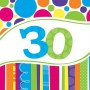 30th Birthday Luncheon Napkins 33cm x 33cm Bright and Bold Pack of 18