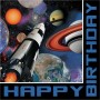 Space Blast Lunch Napkins 33cm x 33cm Happy Birthday Pack of 16