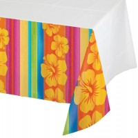 Tropical Fiesta Plastic Table Covers 137cm x 259cm Sunset Stripes Luau