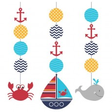 Ahoy Matey Hanging Decorations 91cm Pack of 3