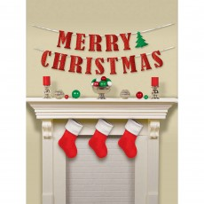 Christmas Tree Glittered ribbon Merry Christmas Banner 3.6m x 12cm