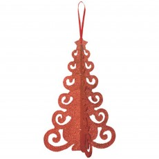 Red 3D Christmas Tree Filigree Hanging Decoration 25cm x 16cm