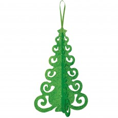 Green 3D Christmas Tree Filigree Hanging Decoration 25cm x 16cm