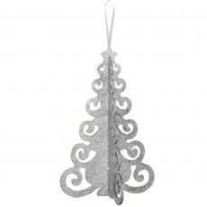 Silver 3D Christmas Tree Filigree Hanging Decoration 25cm x 16cm