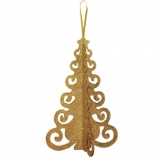 Gold 3D Christmas Tree Filigree Hanging Decoration 25cm x 16cm