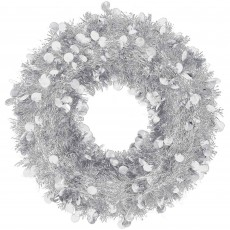 Christmas Party Decorations - Tinsel Wreath Silver