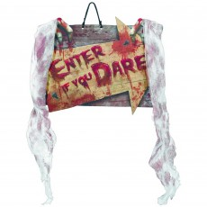 Halloween Party Supplies - Hanging Sign with Bloody Gauze