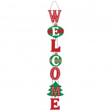 Christmas Deluxe Welcome Hanging Decoration 76cm x 10cm