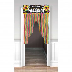 Hawaiian Summer Luau Neon Welcome to Paradise Door Decoration 96cm x 137cm