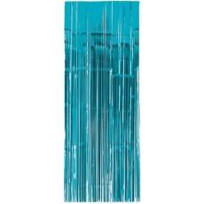 Caribbean Blue Metallic Curtain Door Decoration 2.4m x 91cm
