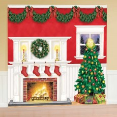 Christmas Party Decorations - Kit Christmas Tree & Fireplace Giant Wall