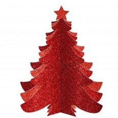 Christmas Party Decorations - 3D Christmas Tree Glittered Red
