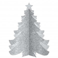 Christmas Party Decorations - 3D Christmas Tree Glittered Silver
