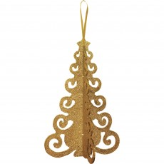 Christmas Party Decorations - 3D Christmas Tree Glittered Gold