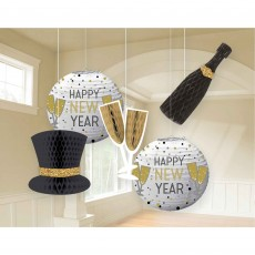 Black, Silver & Gold New Year Lanterns & Honeycomb Hanging Decorations Pack of 5