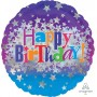 Round Happy Birthday Bright Stars Standard Holographic Foil Balloon 45cm