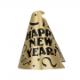 Gold & Black Foil Cone Happy New Year Party Hat 23cm