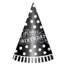 Black & White Happy Birthday Cone Paper Party Hats 17.7cm Pack of 12