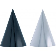 Black & White Cone Foil Paper Party Hats 17.7cm Pack of 12