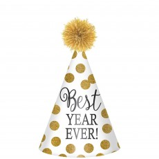 White & Gold Dots New Year Cone Best Year Ever! Party Hat 23cm