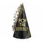 Gold & Silver New Year Cone Pop the Bubbly! Party Hat 23cm