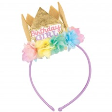 Happy Birthday Party Supplies - Fabric Headband with Crown