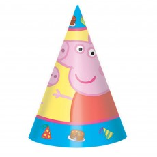 Cone Peppa Pig Party Hats Pack of 8