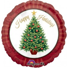 Round Christmas Standard Twinkling Tree Happy Holidays Foil Balloon 45cm
