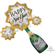 Bubbly Bottle & Stars SuperShape XL Happy New Year Cheers Shaped Balloon 91cm x 76cm