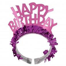 Happy Birthday Tiaras 19cm x 11cm Pink Foil