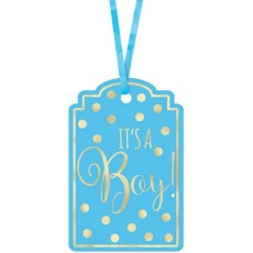 Blue Foil Stamped Paper Tags It's a boy! Misc Accessories 7.6cm x 6.3cm Pack of 25