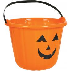 Orange Halloween Pumpkin Plastic Bucket Misc Accessory 16cm x 22cm