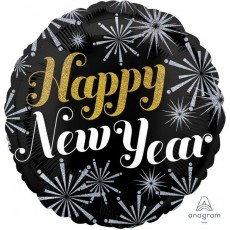 Round Standard Holographic Pizazz Happy New Year! Foil Balloon 45cm
