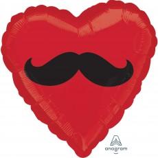 Heart Moustache Standard HX Shaped Balloon 45cm