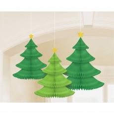 Christmas Tree Honeycomb Hanging Decorations Pack of 3