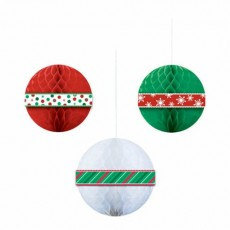 Green, Red & White Christmas Honeycomb Balls Hanging Decorations Pack of 3