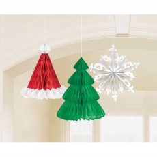 Christmas Party Decorations - Hanging Tree, Hat & Snowflake Honeycomb