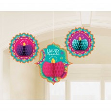 Diwali Honeycomb Hanging Decorations Pack of 3