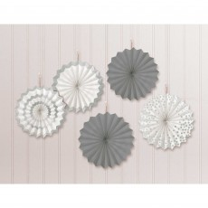 Silver Party Decorations - Hanging Decorations Mini Paper Fans