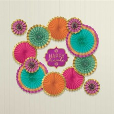 Diwali Party Decorations - Hanging Decorations Paper Fans