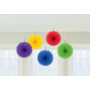 Rainbow Mini Fan Hanging Decorations 15cm Pack of 5