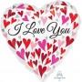 Heart Standard HX Happy Hearts I Love You Shaped Balloon 45cm