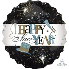 Round Jumbo Elegant Celebrate Happy New Year Foil Balloon 71cm