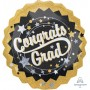 Black, Silver & Gold Graduation Jumbo Holographic Congrats Grad Shaped Balloon 71cm