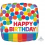 Square Primary Rainbow Colours Standard HX Happy Birthday Shaped Balloon 45cm