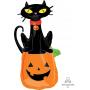 Halloween Black Cat on Pumpkin SuperShape Shaped Balloon