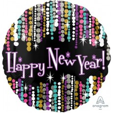 Round Standard Colourful Pizazz Happy New Year! Foil Balloon 45cm