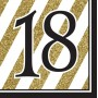 18th Birthday Lunch Napkins 33cm x 33cm Black & Gold Pack of 16