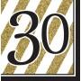 30th Birthday Lunch Napkins 33cm x 33cm Black & Gold Pack of 16