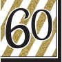 60th Birthday Lunch Napkins 33cm x 33cm Black & Gold Pack of 16